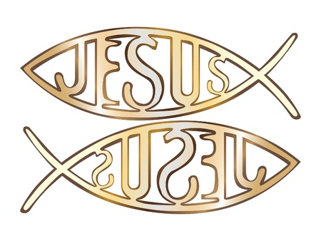 icthus: two christian fish symbol - illustration