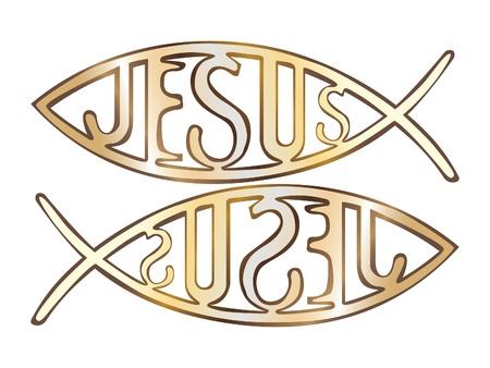 ichthus: two christian fish symbol - illustration