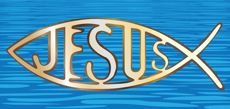 greek gods: christian fish symbol on water background - illustration