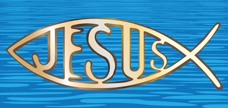 pasqua cristiana: il pesce simbolo cristiano su sfondo acqua - illustrazione