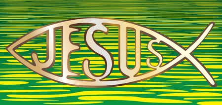 pez cristiano: símbolo cristiano de los pescados en el fondo del agua - ilustración Vectores