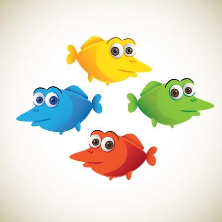 colorful fish: set of cute color cartoon fish - illustration