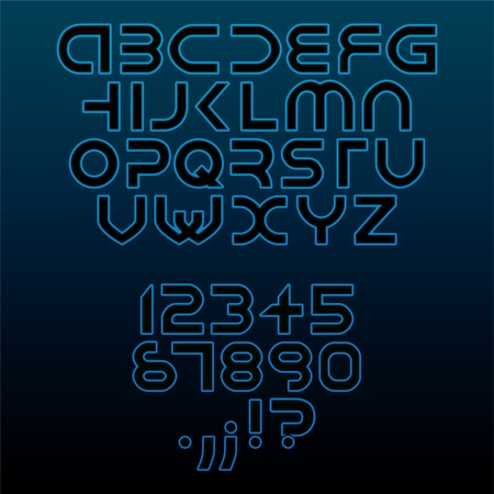 at night: eps10 futuristic alphabet font isolated - illustration Illustration