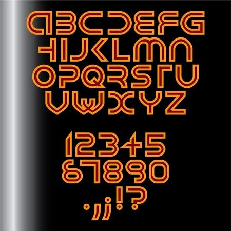 futuristic alphabet font isolated - illustration Vector
