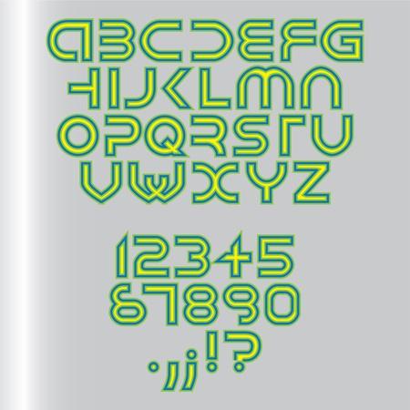 block note: futuristic alphabet font isolated - illustration