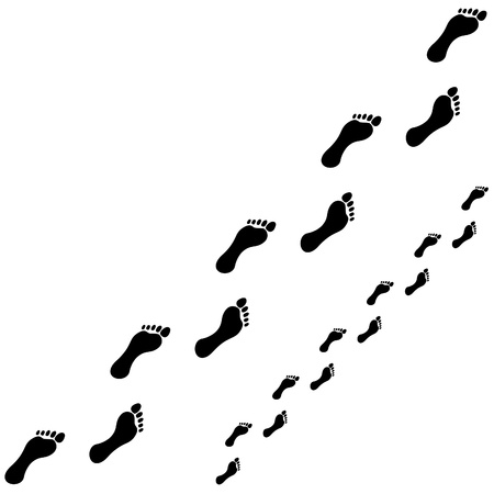 black foot: footprint trace on white background illustration