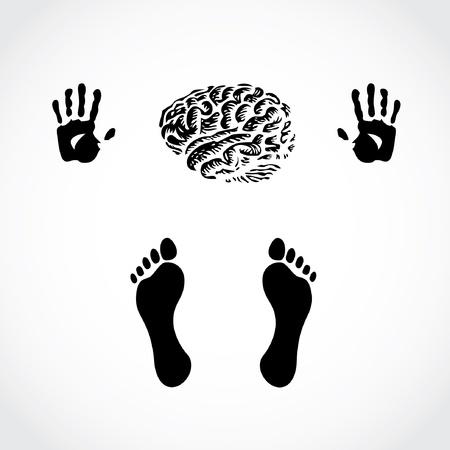 empreinte de main: foots mains et le cerveau - illustration Illustration