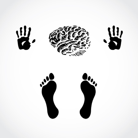 thumb print: hands foots and brain - illustration