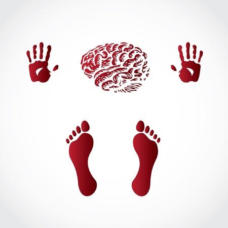 empreinte de main: foots mains et d'impression du cerveau - illustration Illustration
