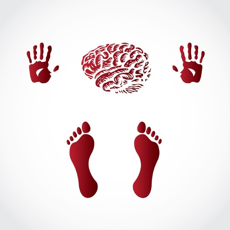 hands foots and brain print - illustration Vector