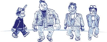 four cartoon guys Stock Vector - 11658651