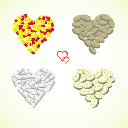 hearts from pills and drops illustration Vector