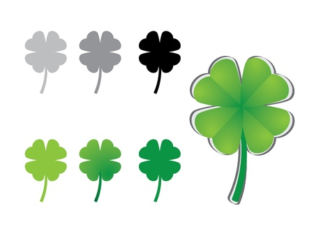 four objects: four leaf clover variations - illustration