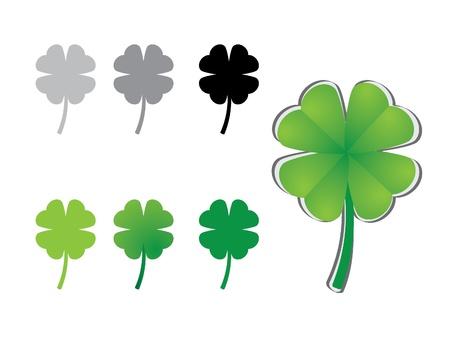 clover leaf: four leaf clover variations - illustration