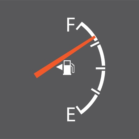 filling station: gas gage isolated on a grey background
