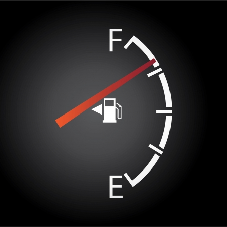 filling station: gas gage isolated on a dark background Illustration