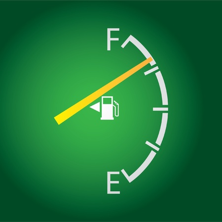diesel: gas gage isolated on a dark green background. Illustration