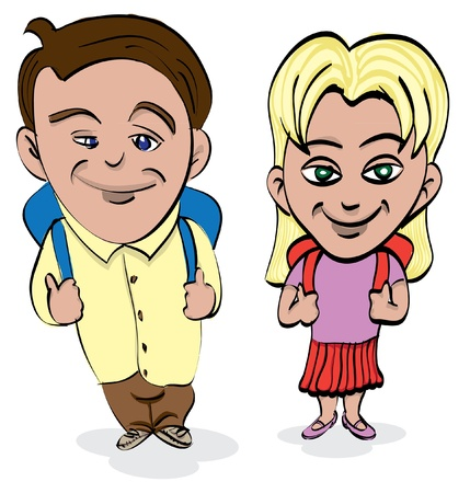 girl and boy with school bags - illustration Vector