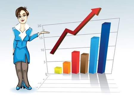 attractive young woman with business graph - illustration Vector