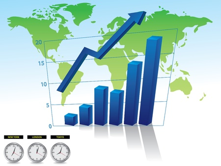Business graph on world backround with arrow illustration Vector