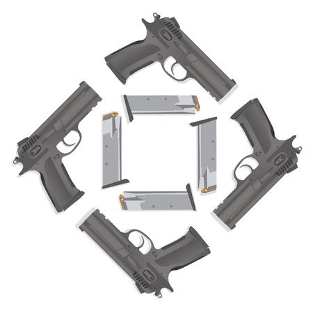 mano pistola: illustrazione dettagliata pistola realistica