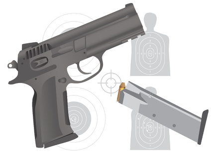 gun, ammo and targets - illustration Vector