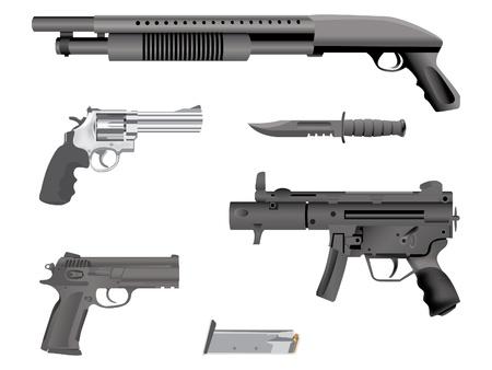 gatillo: armas de fuego ilustración realista equipo - aislados