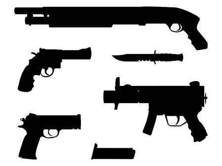 machine gun: silhouette guns equipment - isolated illustration