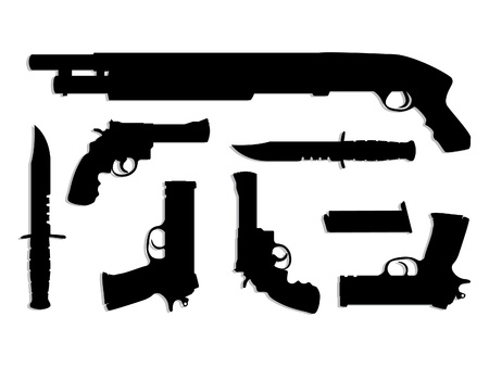 weapon: silhouette guns equipment - isolated illustration
