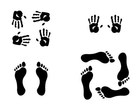 huellas pies: manos y la ilustración de sedimentos