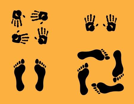 manos y pies: manos y la ilustración de sedimentos