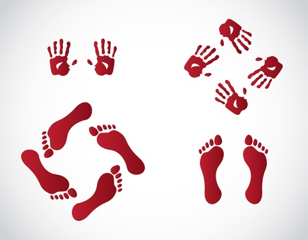 thumb print: hands and foots illustration Illustration