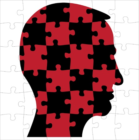 head silhouette from puzzle - illustration Vector
