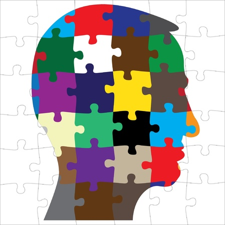 people puzzle: colored head silhouette from puzzle - illustration