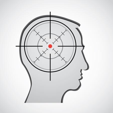 crosshair in head silhouette illustration Vector