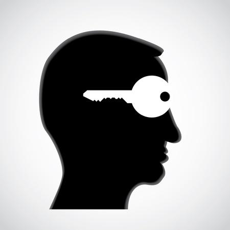 clave en la cabeza - mente abierta - ilustración