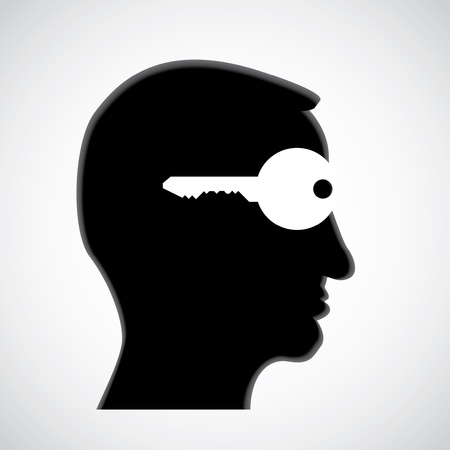 unlock: key in head - open mind - illustration