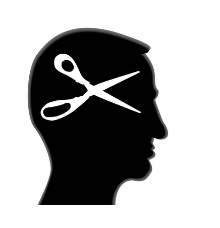 isolated human head with scissors - illustration Vector