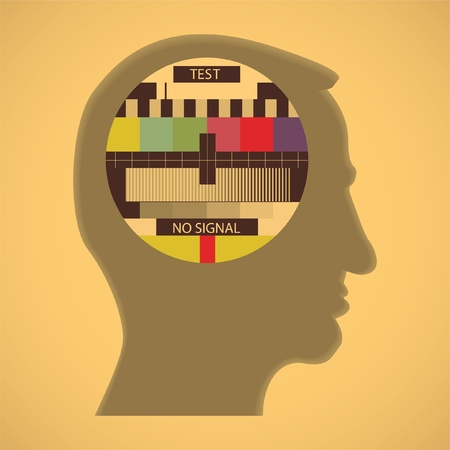 eps10 tv color test in human head - abstract illustration Vector