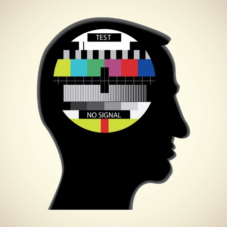 tv color test in human head - abstract illustration Stock Vector - 11904536