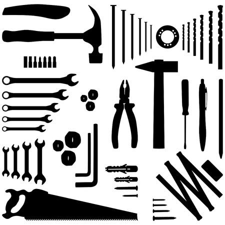 herramientas de construccion: herramienta de bricolaje - Ilustraci�n de la silueta