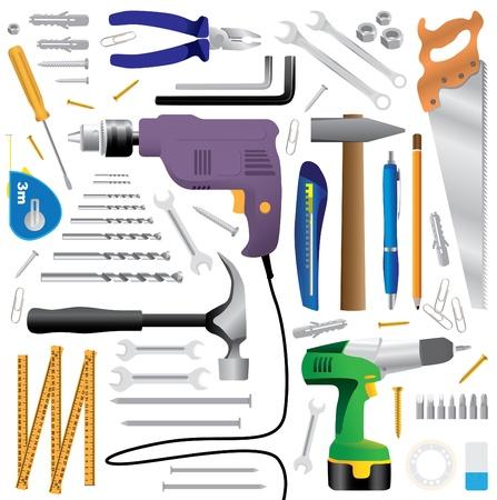 taladro: equipo de herramientas de bricolaje - ilustración realista