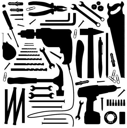 the hammer: diiy herramienta - silueta ilustraci�n Vectores