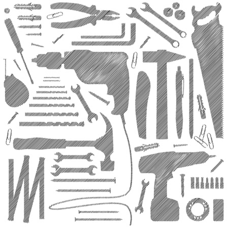 power tools: dyi tool - silhouette illustration