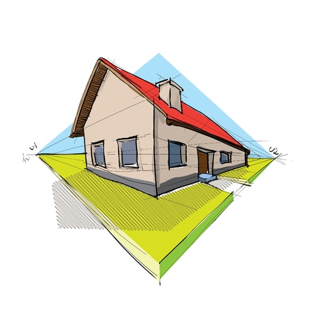 home addition: family house in perspective 3d - illustration Illustration