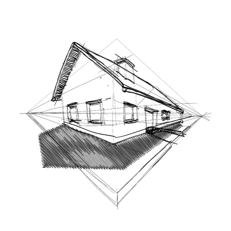 home addition: family house in perspective 3d - outline illustration