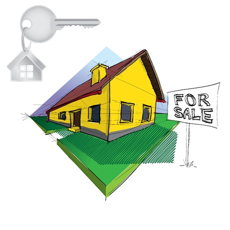 family house in perspective with key and 'For sale' table - illustration Vector