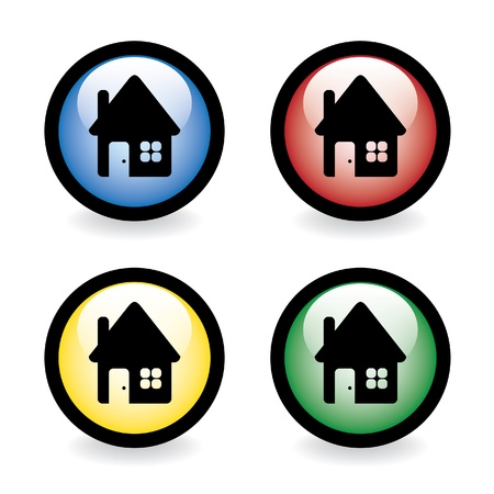 Glossy button with house - illustration