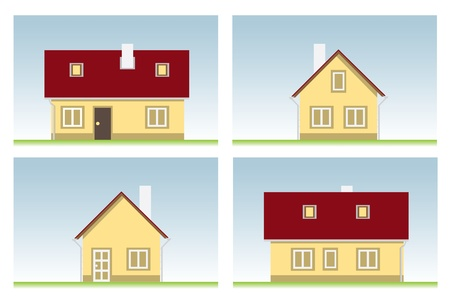 house several views illustration Vector