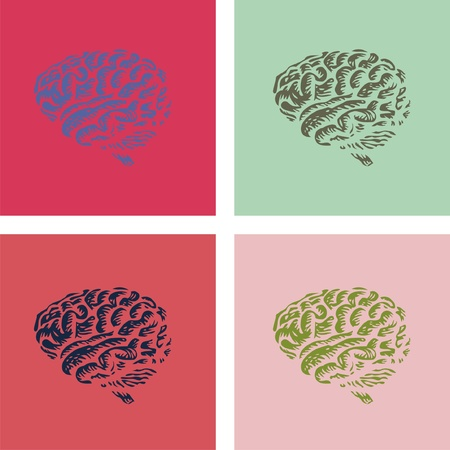 warhol: human brain in pop-art style illustration Illustration